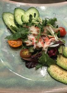 Alaskan King Crab Salad, Japanese Cucumber, Wasabi Sprouts, Pea Shoots, Yuzu Ginger Vinaigrette