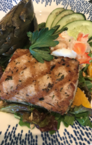 Grilled Herb Crusted 'Ahi Salad, Roasted Artichoke, Citrus Salad, Yuzu Rice Wine Vin