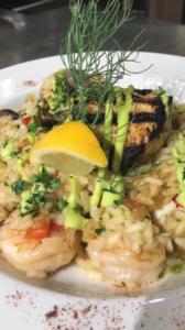 Seafood Risotto with Kauai Shrimp, Grilled Opah, U-10 Scallops, Fennel Aioli